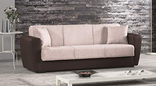 Enrico coveri contemporary divano letto 3 posti marrone e beige, in elegante tessuto ed ecopelle, perfetto per arredo salone, soggiorno e cucina