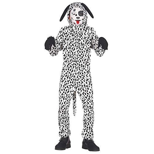 NET TOYS Niedliches Dalmatiner-Kostüm für Kinder - Schwarz-Weiß 5 - 6 Jahre, 110 - 115 cm - Tierische Kinder-Verkleidung Tierkostüm Hund - Perfekt geeignet für Kinder-Fasching & Straßenkarneval