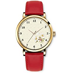 iCreat Women Ladies Girls Analog Wrist Watch Red Genuine Leather Strap Dial with Elegant flower