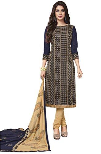 Salwar Suits For Women (Manmandir's NavyBlue Cotton Dress Material)