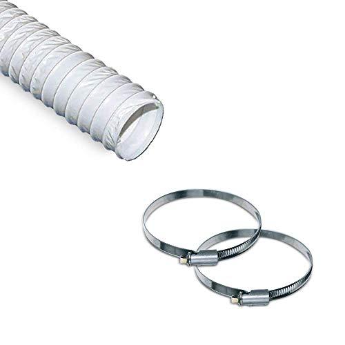 VIOKS Abluftschlauch 125mm / 3m Flexibler PVC Schlauch inkl. 2 Schellen für  Klimaanlage Klimagerät Dunstabzugshaube Wäschetrockner Trockner -