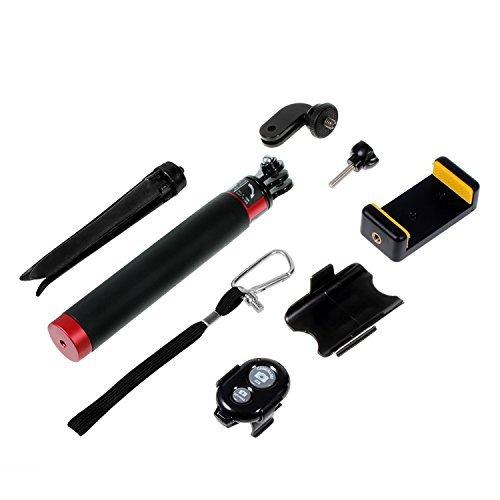 COOSA Regolabile selfie Stick per GoPro HERO 4/3 + / 3 telecamere con accessori Kit 20-80cm impermeabile (2 rosso + Kit di accessori, 598)