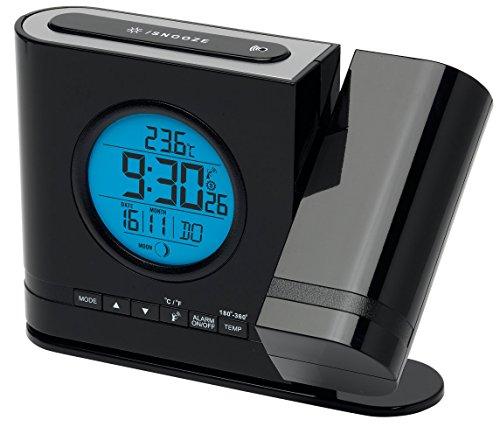 MEDION Projektions-Funkuhr (MD13331) LC Display mit blauer Hintergrundbeleuchtung, Integrierter Bewegungssensor, Projektion der Uhrzeit, Anzeige der Mondphase, rund, schwarz