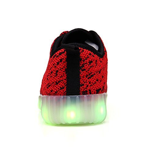 VILOCY Unisex Kinder Sneakers LED Licht Luminous 7 Farben USB Lade Schuhe Rot