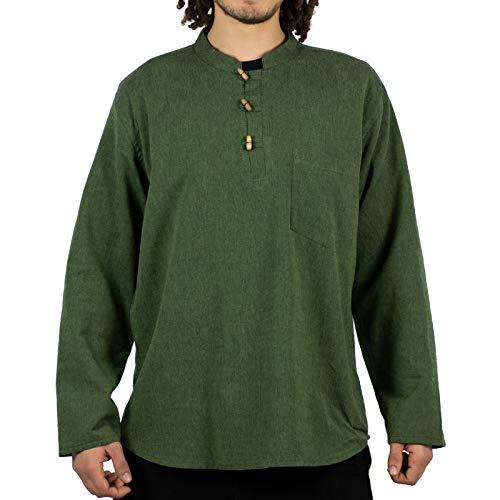 KUNST UND MAGIE Herren Fischerhemden bequemer Schnitt Klassische Farben in verschiedenen Größen, Größe:M, Farbe:Grün