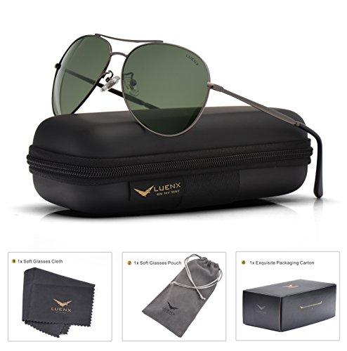 LUENX Homme Lunettes de Soleil Aviator polarisées Au volant with Cas - Protection UV 400 Noir lunettes 60mm Vb9MN