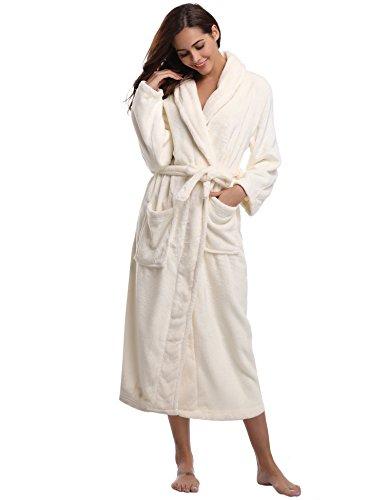 Aibrou pyjama femme polaire Robe peignoir pas cher personnalisé robe chambre homme longue Hiver blanc EU48-50