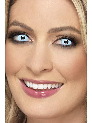 Halloweenia - Damen Herren Kontaktlinsen Party Linsen Psycho Ice Blue Eisblau Kostüm Accessoires Zubehör, perfekt für Halloween Karneval und Fasching, Hellblau