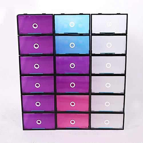 RONSHIN Plastikschuhkasten verdickter seitlicher Reißverschluss-transparenter Vorratsbehälter Schwarzer Rahmen + Blau 31 * 20 * 12 cm