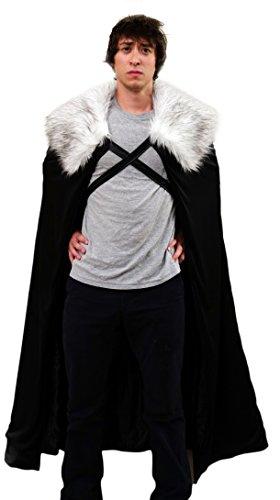 Cape d'hiver pour homme Costume de Lord Snow Garde de Nuit Cape de cosplay Taille M OSFM - Black with grey fur, Vetements