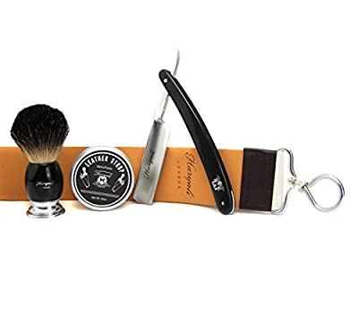 VINTAGE SHAVING SET FOR MEN BY HARYALI LONDON (Straight cut Throat Razor, badger hair shaving brush,leather strop with paste/balm)