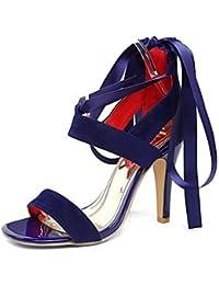 NVXZD Mujer-Tacón Stiletto-Confort-Sandalias-Oficina y Trabajo Vestido Informal-Semicuero-Negro Morado Rojo Azul , red , us5 / eu37 / uk4 big kids