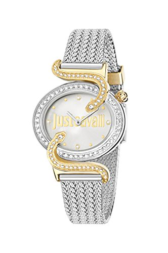Just Cavalli Sin Women's Quartz Watch with White Dial Analogue Display and Blue Stainless Steel Strap R7253591508
