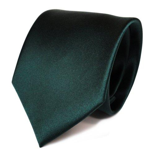 TigerTie Designer Satin Krawatte in grün dunkelgrün tannengrün uni Polyester - Tie Binder Schlips