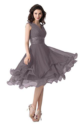 Victory Bridal Einfach Tief V Ausschnitt Abendkleider Ballkleider Brautjungfernkleider kurzes Chiffon Dunkel Grau
