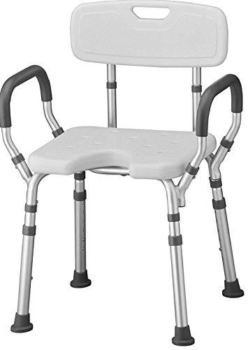 Armrest Bathtub Lift Chair Dusch- und Badstuhl mit Rücken und Armen, Schnell & einfach Werkzeuge Kostenlose Montage, Leichter & Sitzhöhenverstellbarer Hoch Duschstuhl für ältere Menschen - Lift Arm