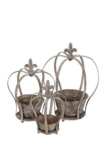 Gartenzaubereien Kronen 3Set zum Bepflanzen, Shabby grau, Fleur de LYS