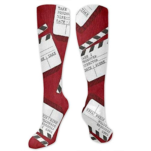 Gped Kniestrümpfe,Socken Lights Camera Action Clap Board Compression Socks,Knee High Socks,Funny Socks for Women Men - Best Medical,Sports,Running, Nurses,Maternity,Pregnancy,Travel & Flight - Lights Camera Action Kostüm