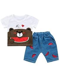 Conjunto de Camiseta Tops Estampada Oso y Pantalones para 0-36 Meses bebé  niños df52de18b4f