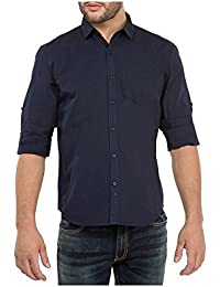 Urbano Fashion Men's Navy Blue Solid Casual Shirt