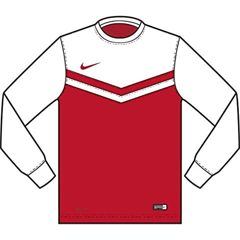 Nike Long Sleeve Top YTH Victory II Jersey, Bambini, Jersey Victory II LS, rosso università / bianco, L