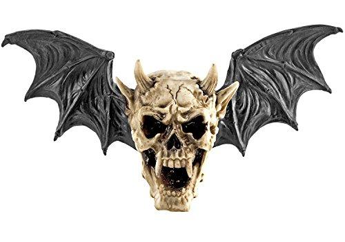 Geflügelter Toten-Kopf Fleder-Maus Dekoration Hörner Bat Dämon Skull Skulptur Horror Skelett 42x11x23cm Dead Heaven Hell Hölle Satan Teufel Gothic Engel Wings - Rituali X Halloween
