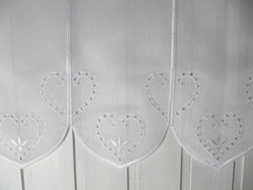 Scheibengardine Weiß Herzmotiv Landhaus Alpenstil 45 cm H oder 60 cm H/ Br. ab 1 Meter, Höhe:45