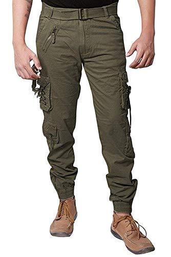 Verticals Men's Dori Style Relaxed Fit Zipper Cargo Pants, 30(plaindorigreen)