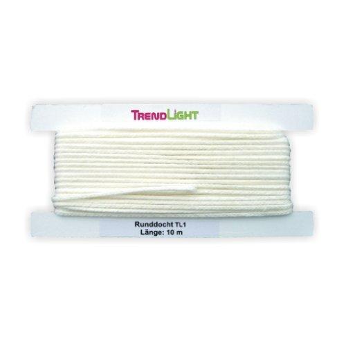 TrendLight 860457 Kerzendocht, Runddocht TL1 10 m bis 2,5 cm Durchmesser