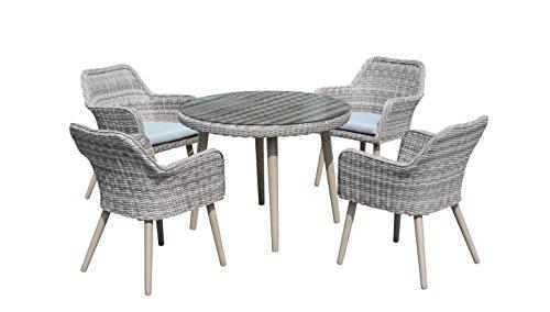 Maze Rattan par-645010rund 4-Sitzer-Paris Esstisch Set mit 120cm Tisch in einem Geflecht-Licht Grau Ton -