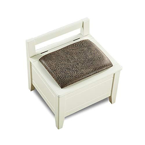 Banc de chaussure en bois solide, tabouret de rangement en bois de repose-pieds avec siège en PU, pouf rembourré avec repose-pieds rembourré (Couleur : Blanc)