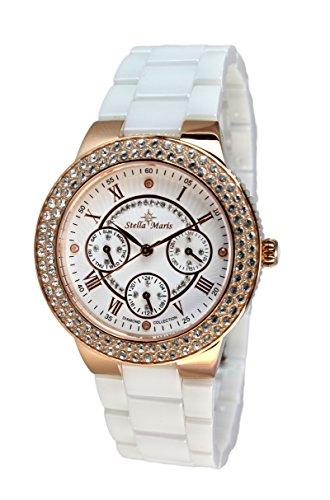 Stella Maris - STM15S6 - wrist watch for women - quartz movement analog display - white dial - white ceramic bracelet