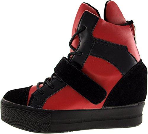Sneakers Red hoch bis 1 B盲nder High Klettverschluss Black C2 Top Maxstar C2 nq4w7Zx0PA