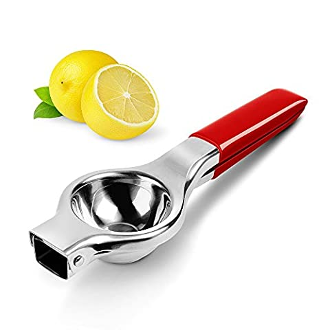 Lemon Squeezer, Panpany Stainless Steel Citrus Juicer with Silicone Handles,Quick and Smooth juicing with 12 weep holes - Red …