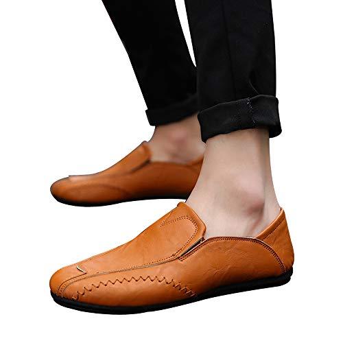 Moika uomini colore solido rotondo toe cucito flat tacco superficiale scarpe in pelle (240/39, giallo)
