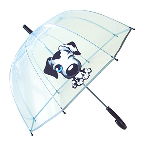 SMATI Paraguas niños Largo Transparente Perro Forma de Campana Borde Fluorescencia