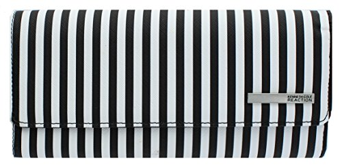 Kenneth Cole Reaction Womens Saffiano Clutch Wallet Trifold W Coin Purse (BLACK WHITE STRIPE) (Cole Kenneth Clutch)