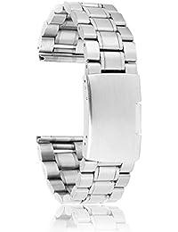 SODIAL(R) 22 mm Venda De Reloj De La Correa De Acero Inoxidable Solido con Hebilla del Despliegue - De Color Plata