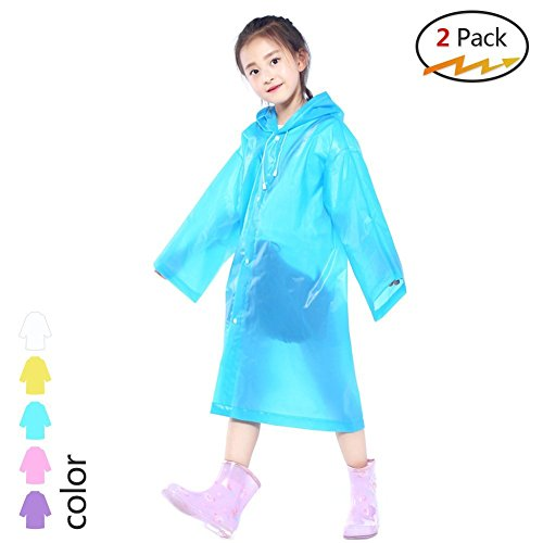 2 Pack Kids Children Rain Ponchos,Portable Reusable Raincoat with Hood and Sleeves,for Theme Parks, Sporting Events, Camping, Traveling, Concerts Or Some Emergencies (Blue)