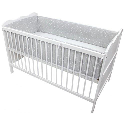 TupTam Babybett Bettumrandung Lang Gemustert, Farbe: Sternbild Grau/Weiß, Größe: 360x30cm (für Babybett 120x60)