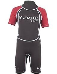 SCUBATEC Kids Wave - Short de neopreno para niños (3mm) , color  - rojo, tamaño 104-110 (XXS)