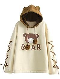 Topotl – Sudadera con capucha para mujer, diseño de oso informal, manga larga, con orejas de oso, para otoño e invierno