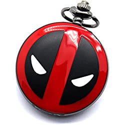"DEADPOOL Red & Black Finished Case Men's Quartz Pocket Watch Necklace - On 32"" Inch / 80cm Chain"