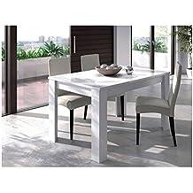 Mesa comedor acabado blanco brillo extensible de 140 x 90