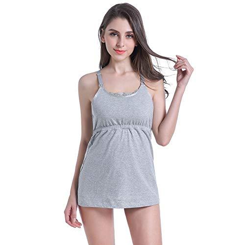 Frauen Nahtlose Top Mutterschaft Pflege Baumwolle V-Ausschnitt Sling Tank Top Kleid schwanger gebaut in BH Nachthemd zum Stillen gepolsterte drahtlose kostenlose BHS schlafen2-L -