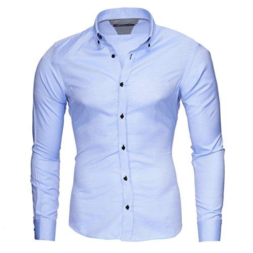 MERISH Slim Fit Hommes Chemise à manches longue Chemise Business Oxford Button Down, Modell 205 Bleu clair
