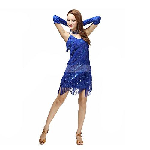 (Pailletten Bauchtanz Kostüm Für Frauen Quasten Bauchtanz Outfit Blau Quasten Latin Dance Kleid Rock Kostüm Body Pailletten Kurzen Rock Leistung Kostüm)