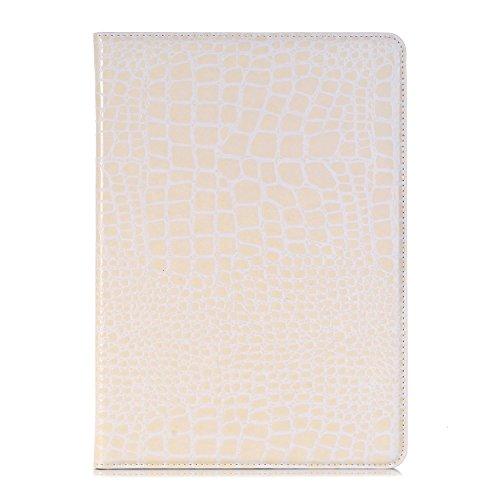Apple 2017 New iPad Case, elecfan ® Ultra Dünnen Leichtgewicht Book Stil Flip PU Leder Hülle Tasche Wasserdicht Case Smart Cover mit Standfunktion / Kartenfächer / Auto Schlaf Wach Funktion Anti Kratz Weiß