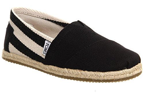 Toms Classic University Black Stripes Womens Canvas Espadrille Shoes Slipons-7