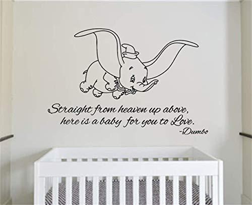(wandaufkleber schmetterling schwarz Gerade vom Himmel oben ist hier ein Baby, damit Sie Dumbo-Zitat für Kinderzimmer-Kinderzimmer lieben)